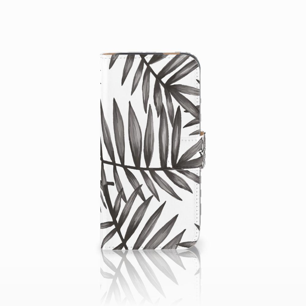 HTC One M8 Uniek Boekhoesje Leaves Grey