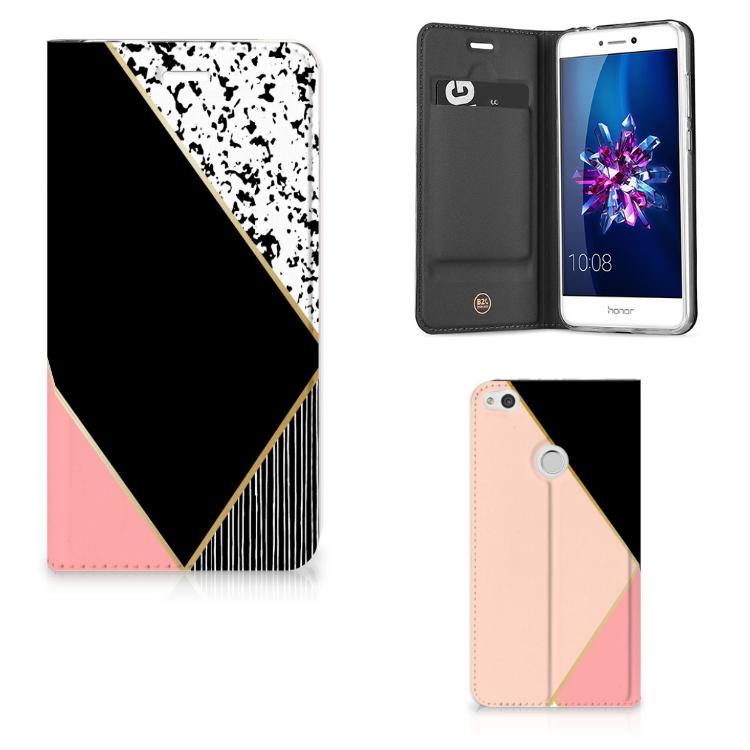 Huawei P8 Lite 2017 Stand Case Zwart Roze Vormen