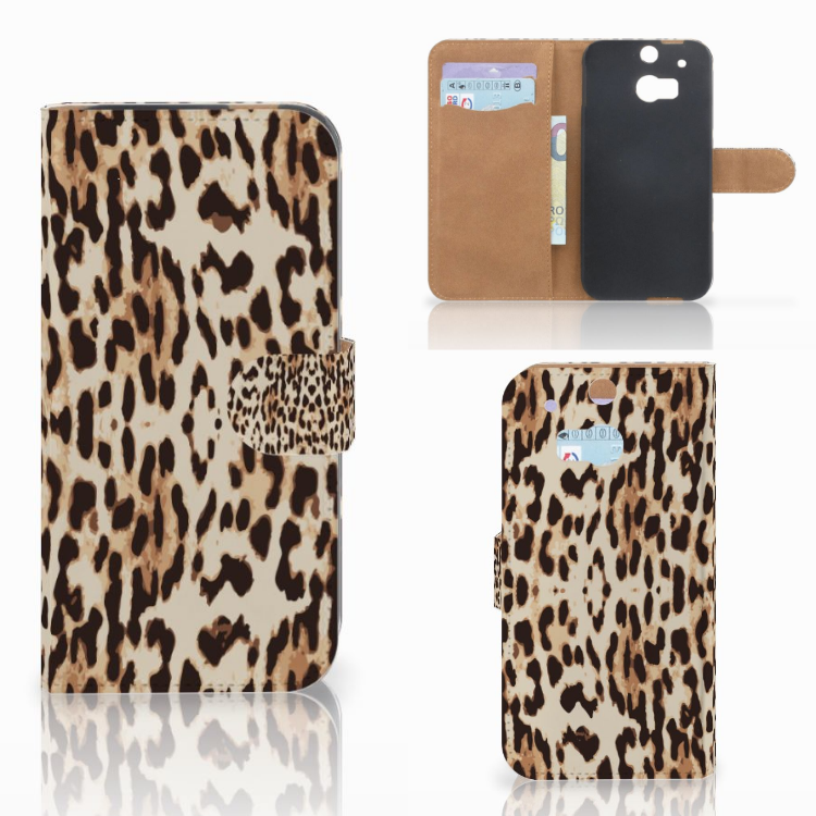 HTC One M8 Telefoonhoesje met Pasjes Leopard