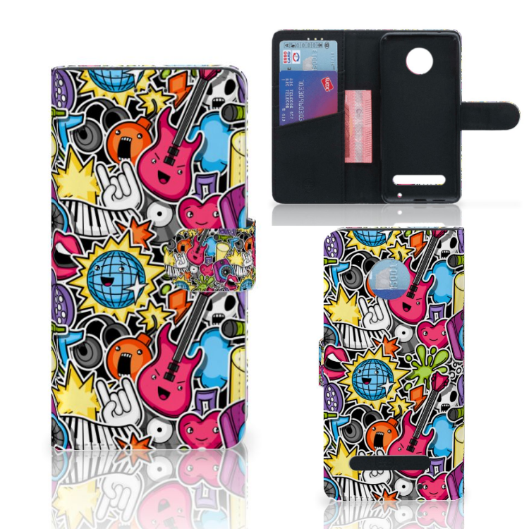 Motorola Moto Z2 Play Wallet Case met Pasjes Punk Rock