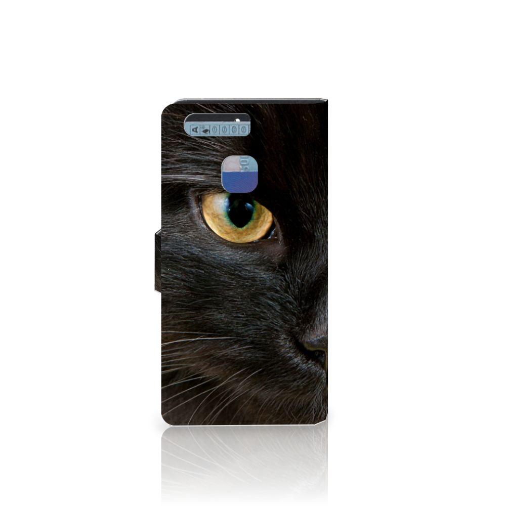 Huawei P9 Telefoonhoesje met Pasjes Zwarte Kat