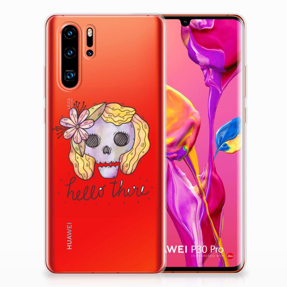 Silicone Back Case Huawei P30 Pro Boho Skull