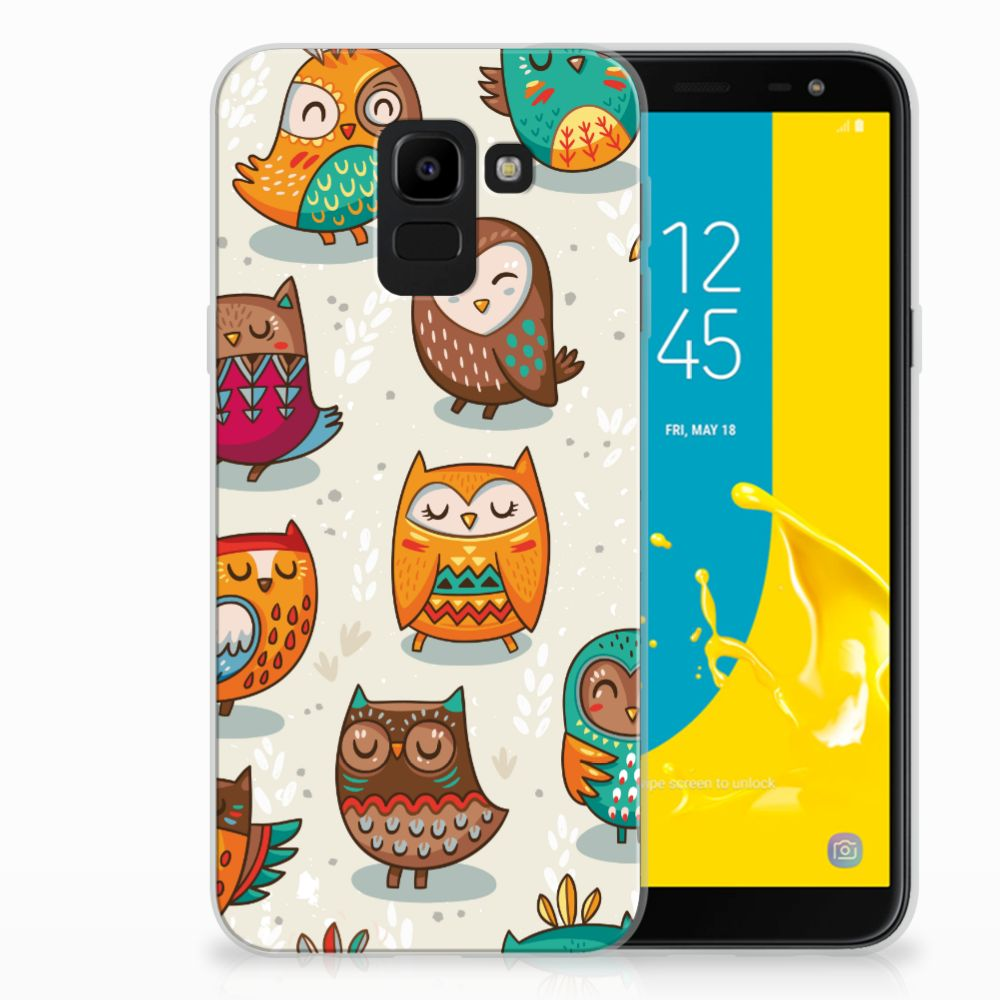 Samsung Galaxy J6 2018 Leuk Hoesje Vrolijke Uilen