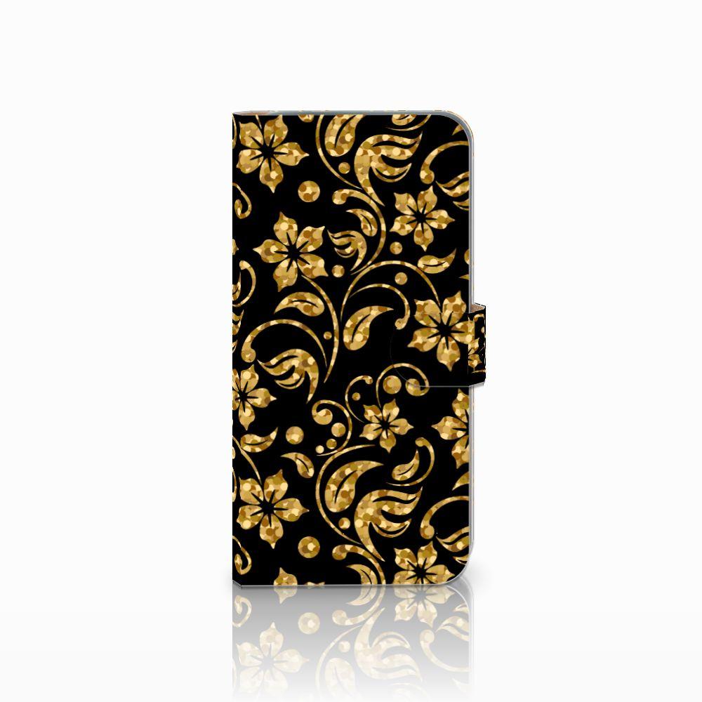 HTC Desire 10 Pro Boekhoesje Design Gouden Bloemen