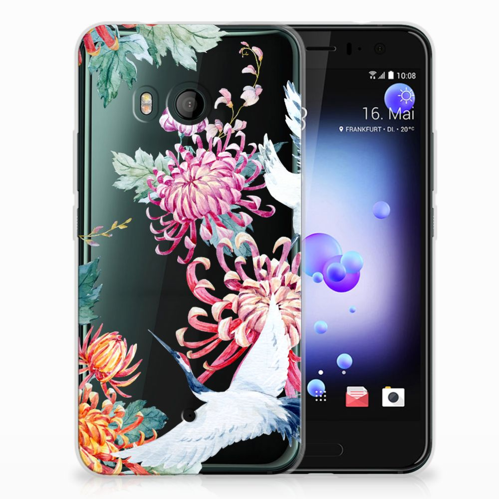 HTC U11 TPU Hoesje Bird Flowers