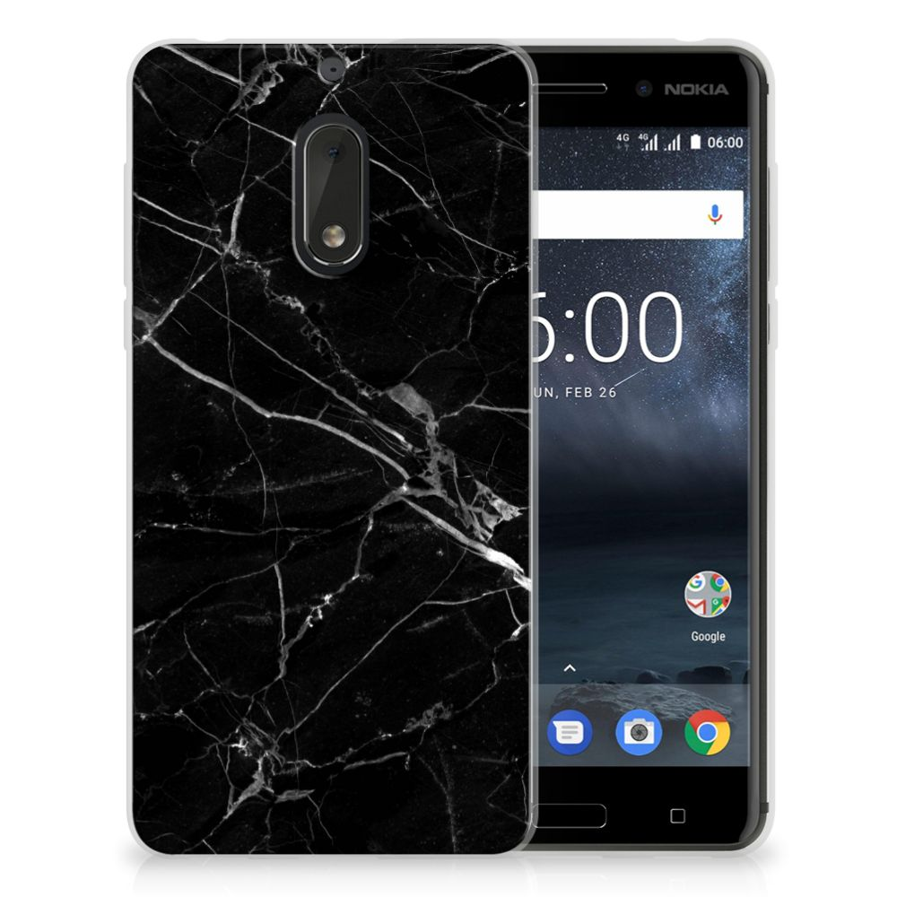 Nokia 6 TPU Siliconen Hoesje Marmer Zwart - Origineel Cadeau Vader