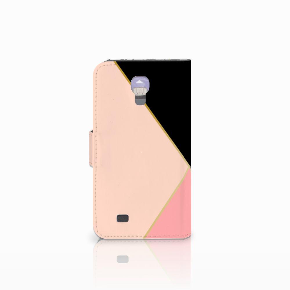 Samsung Galaxy S4 Bookcase Zwart Roze Vormen