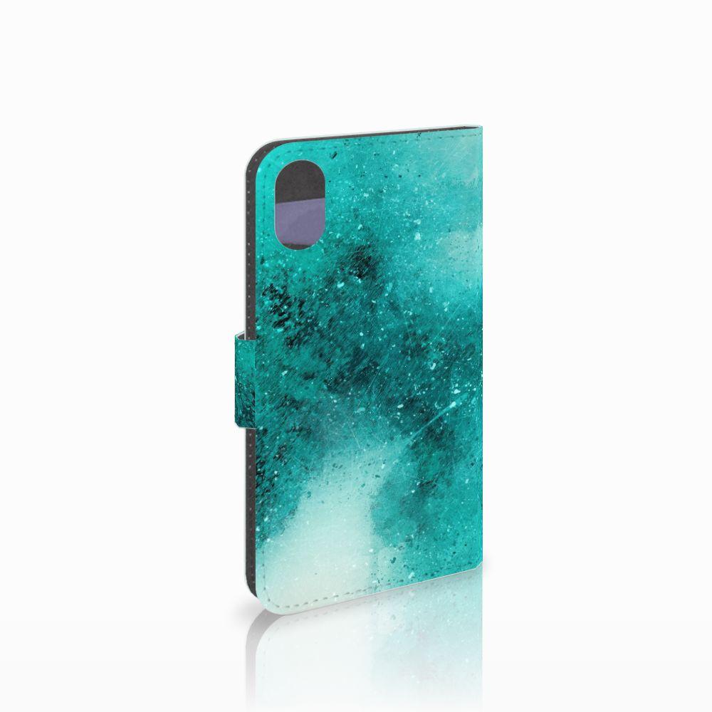 Apple iPhone X | Xs Uniek Boekhoesje Painting Blue