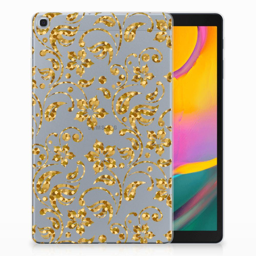 Samsung Galaxy Tab A 10.1 (2019) Tablethoesje Design Gouden Bloemen
