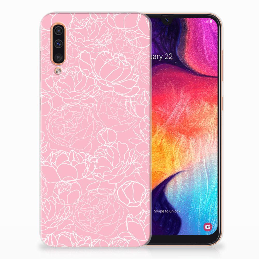 Samsung Galaxy A50 TPU Case White Flowers