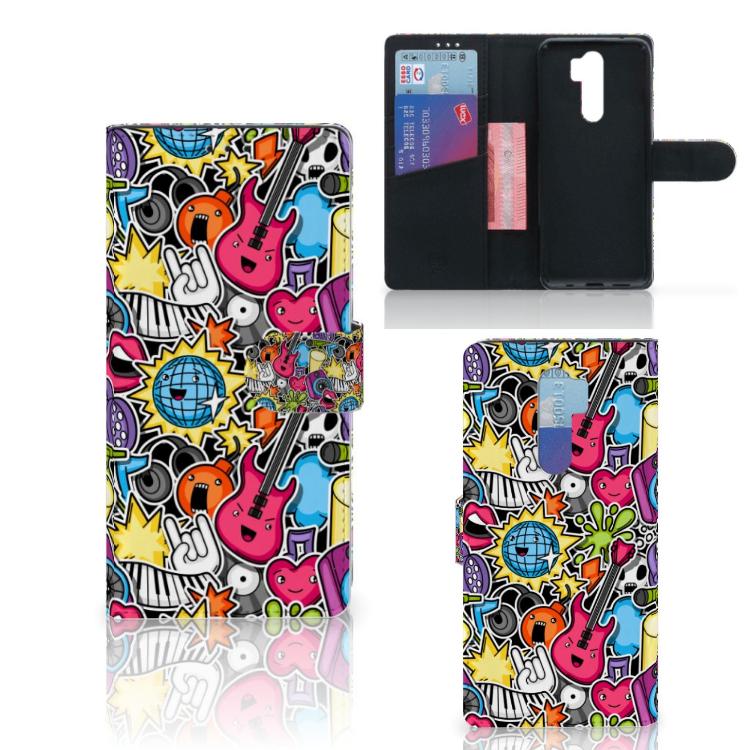 Xiaomi Note 8 Pro Wallet Case met Pasjes Punk Rock