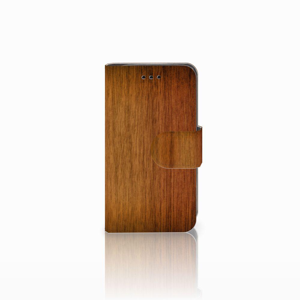 Samsung Galaxy Trend 2 Uniek Boekhoesje Donker Hout