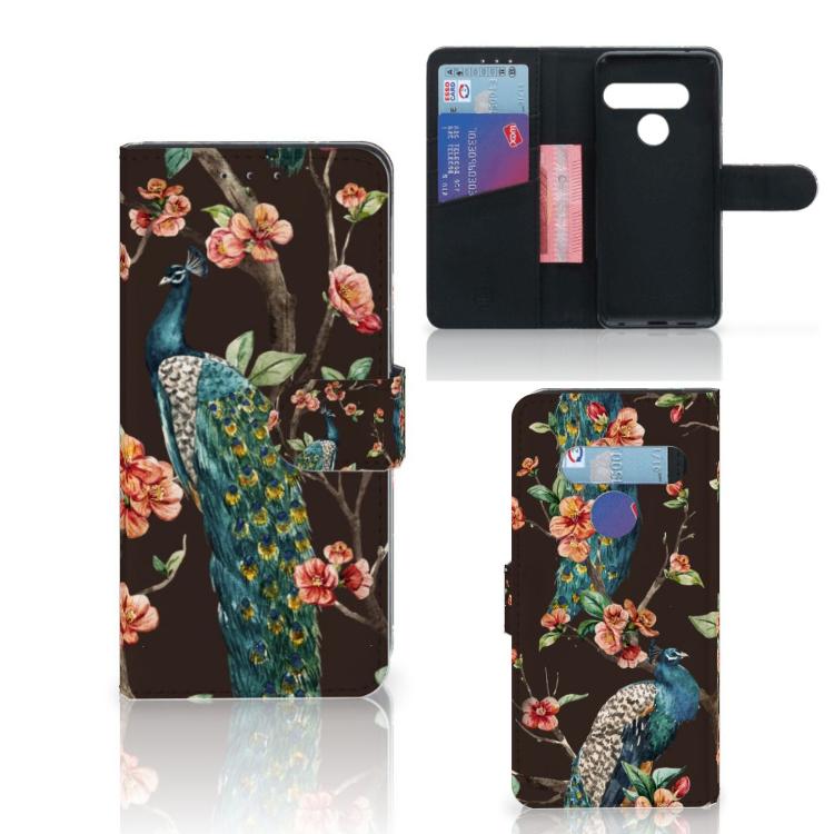 LG G8s Thinq Telefoonhoesje met Pasjes Pauw met Bloemen