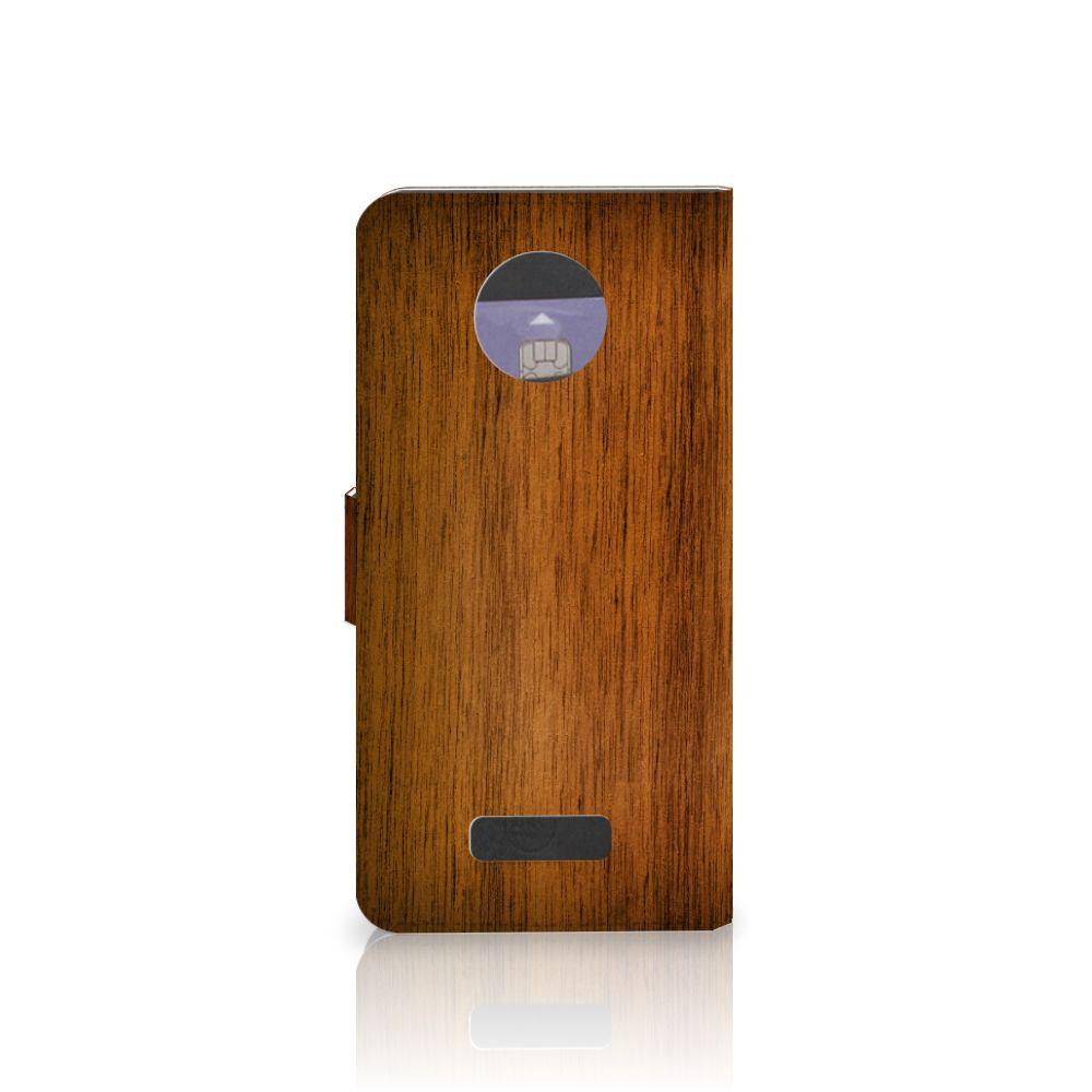 Motorola Moto Z Book Style Case Donker Hout
