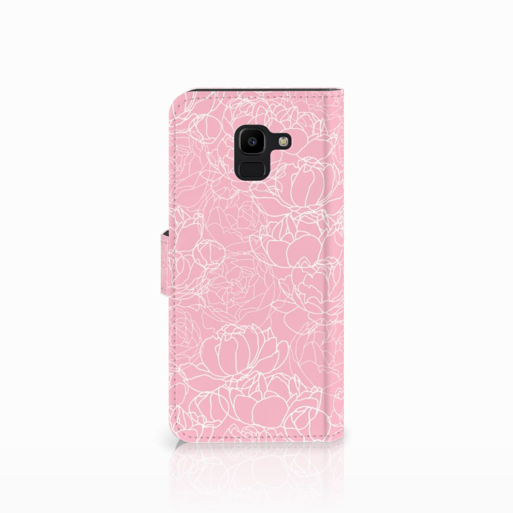 Samsung Galaxy J6 2018 Hoesje White Flowers