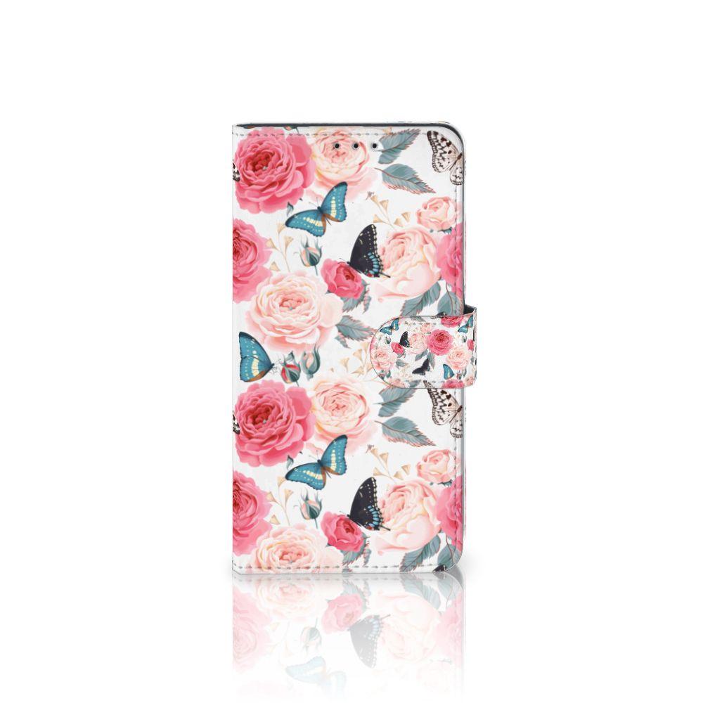 Samsung Galaxy A8 Plus (2018) Uniek Boekhoesje Butterfly Roses