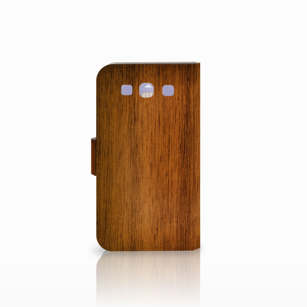 Samsung Galaxy S3 i9300 Book Style Case Donker Hout