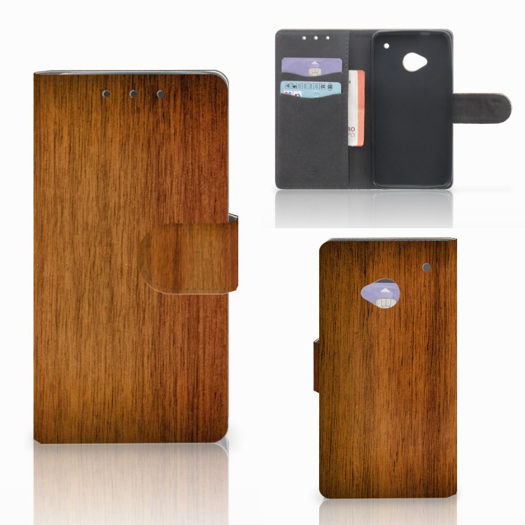 HTC One M7 Book Style Case Donker Hout