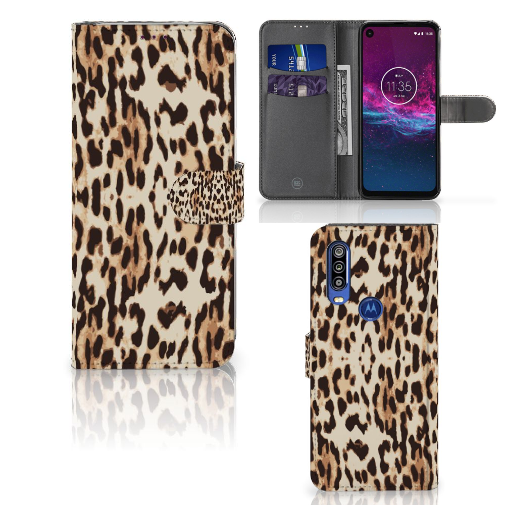 Motorola One Action Telefoonhoesje met Pasjes Leopard