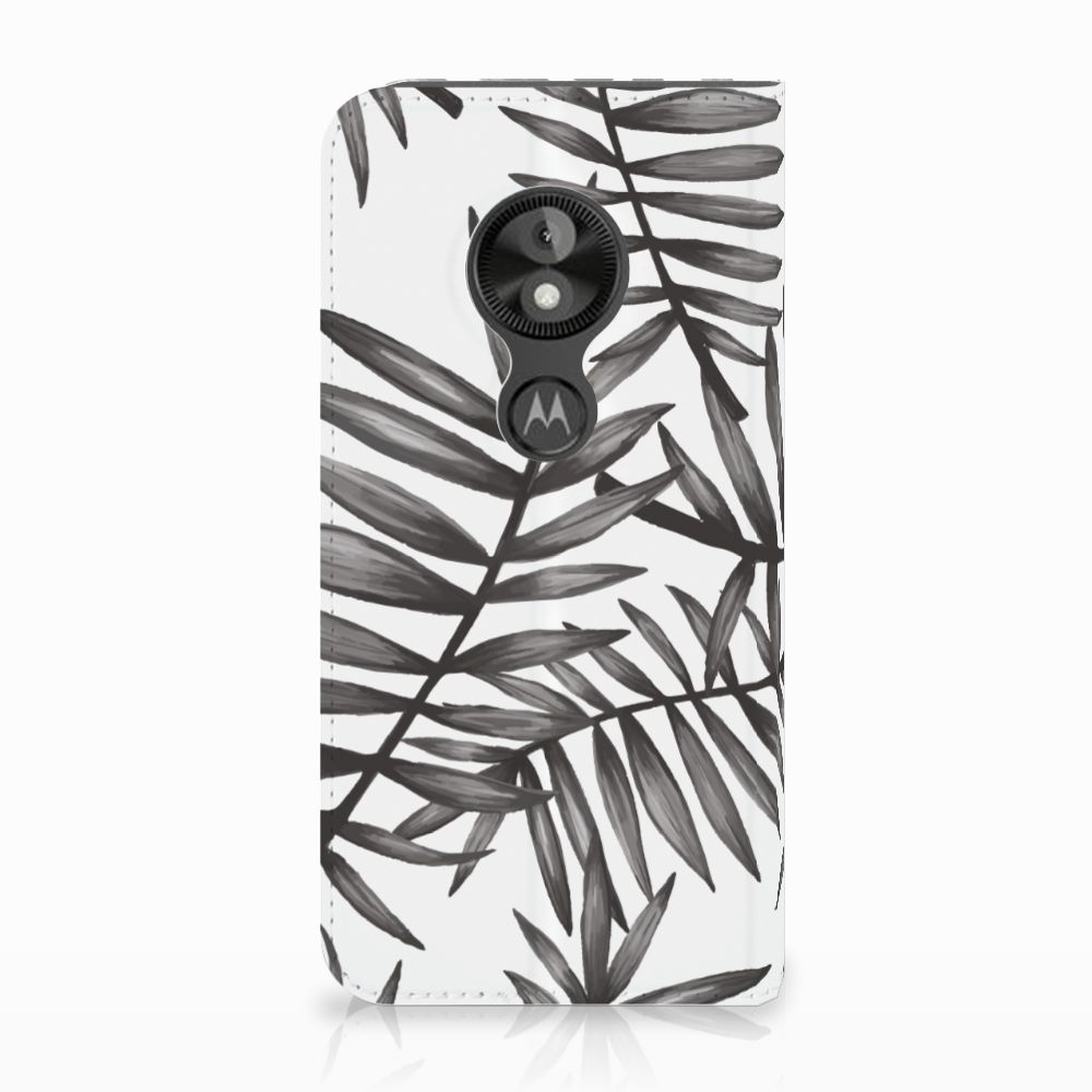 Motorola Moto E5 Play Uniek Standcase Hoesje Leaves Grey