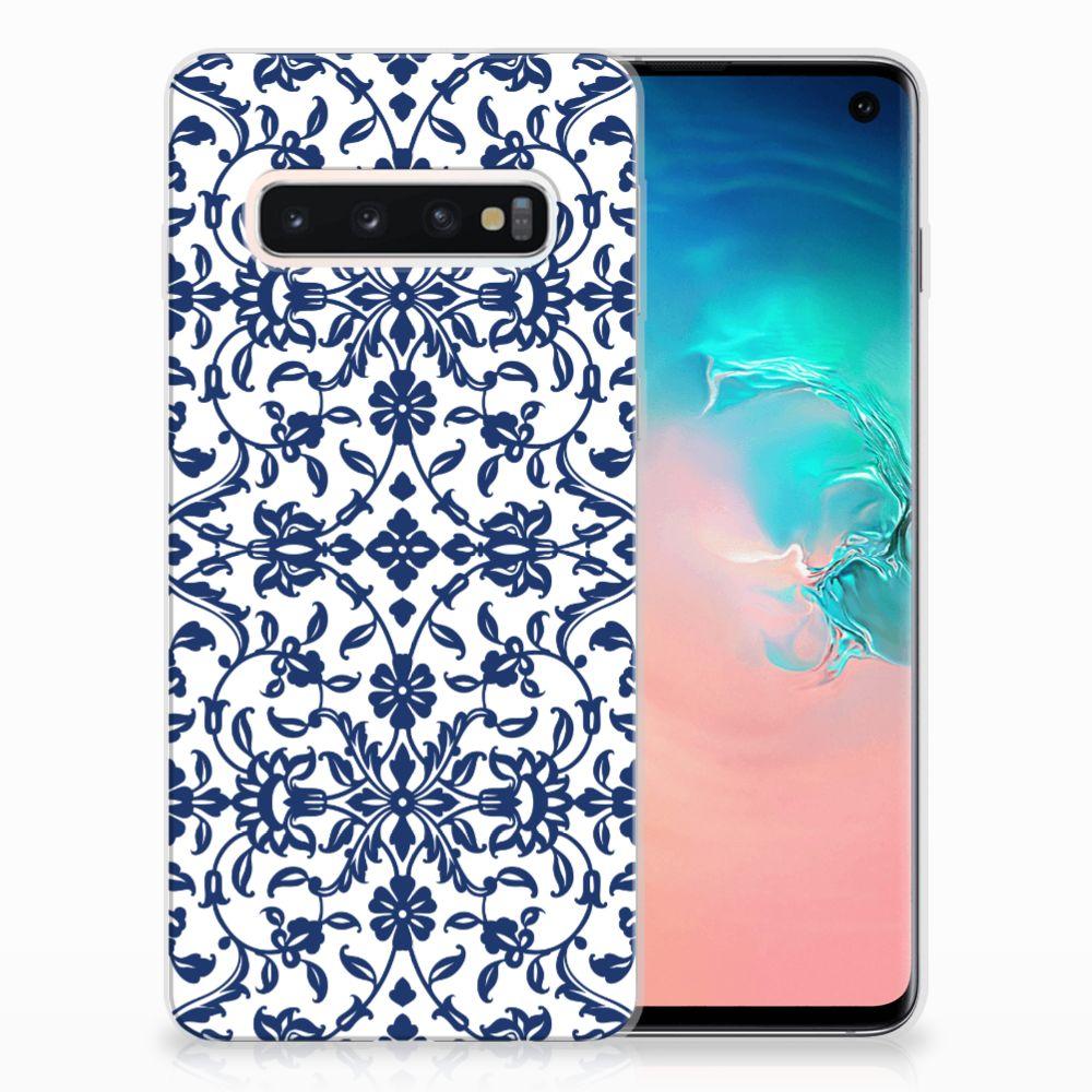 Samsung Galaxy S10 TPU Hoesje Flower Blue