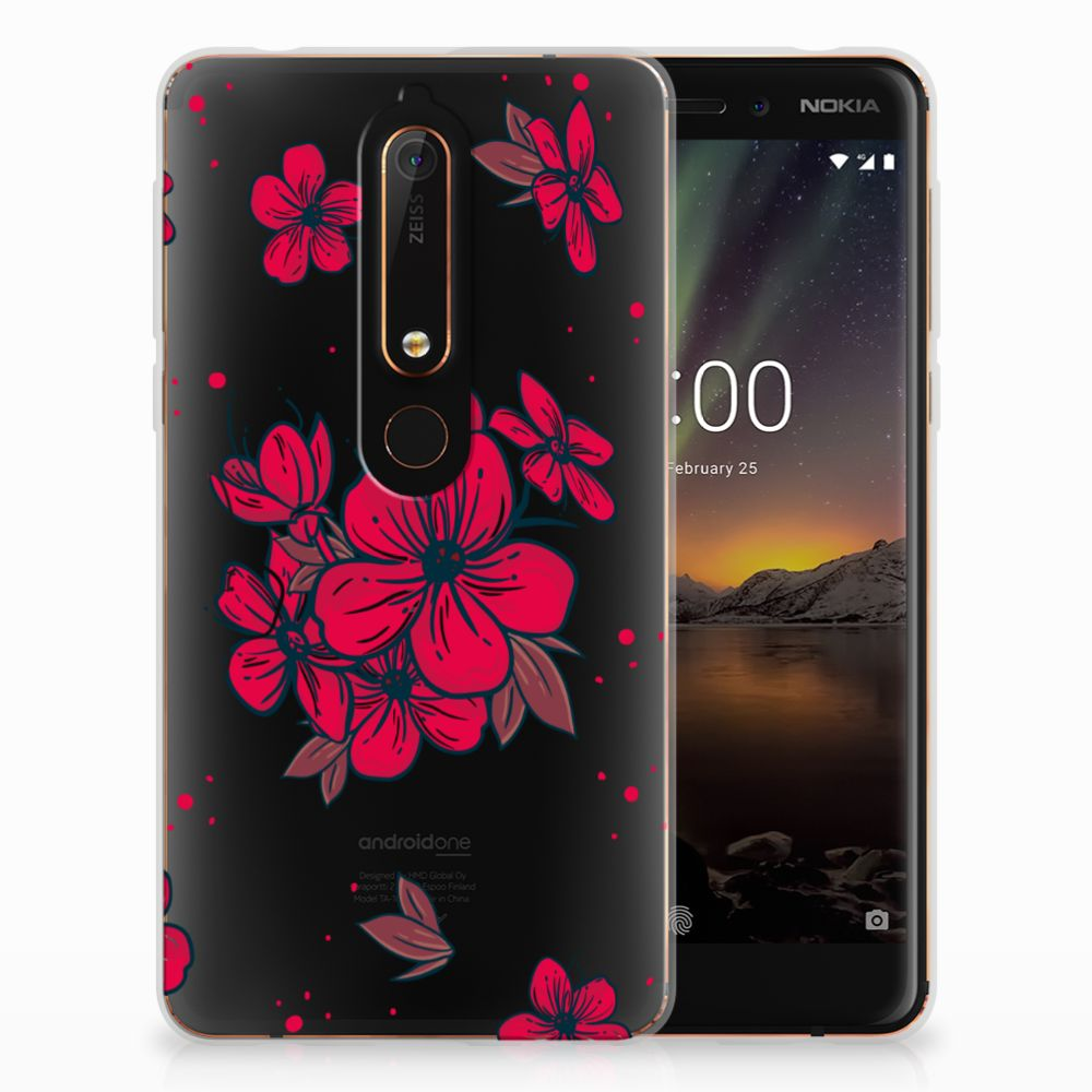 Nokia 6 (2018) TPU Hoesje Design Blossom Red