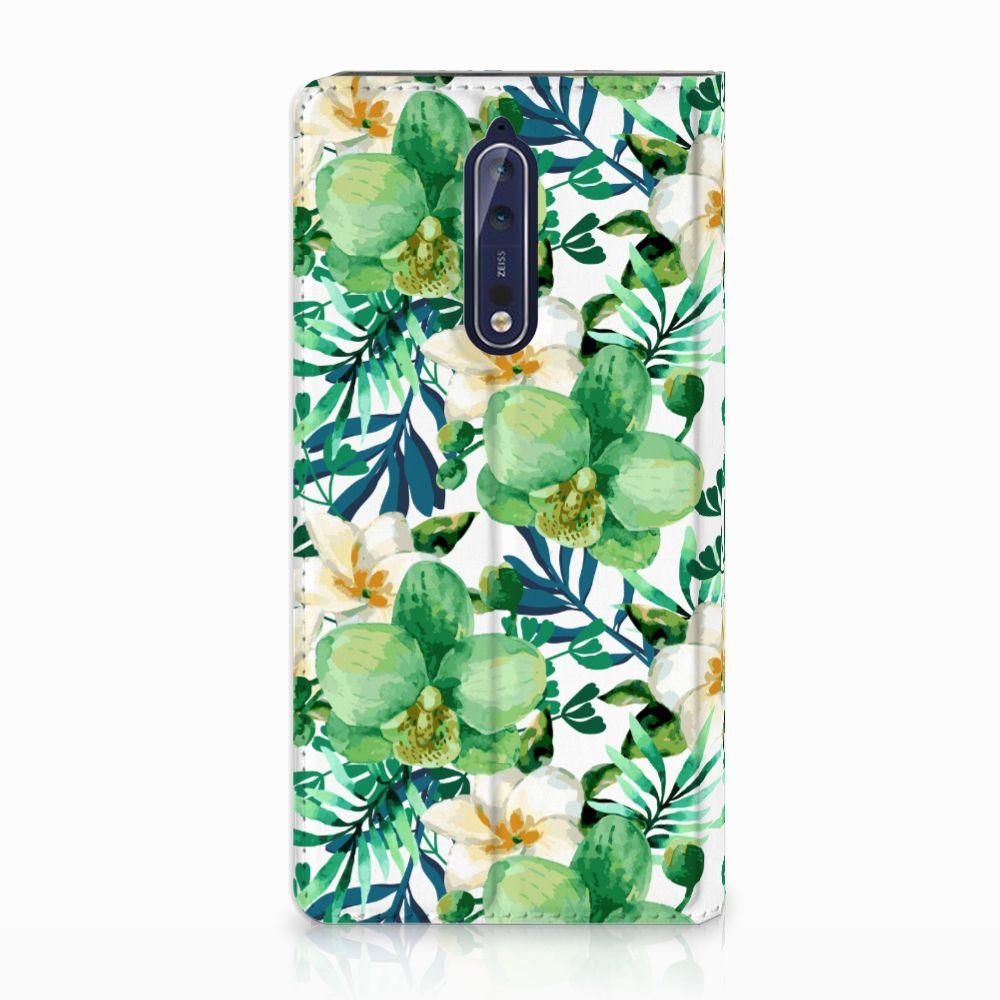 Nokia 8 Uniek Standcase Hoesje Orchidee Groen