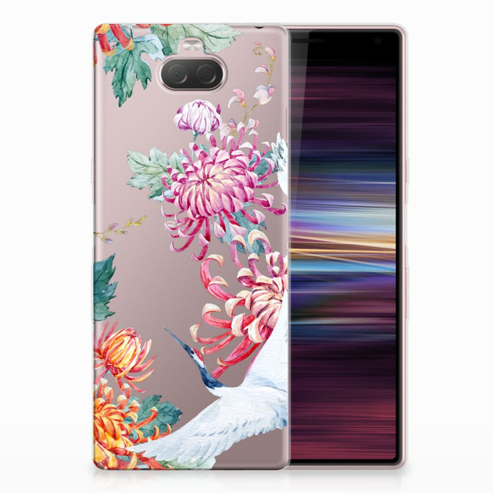 Sony Xperia 10 TPU Hoesje Bird Flowers