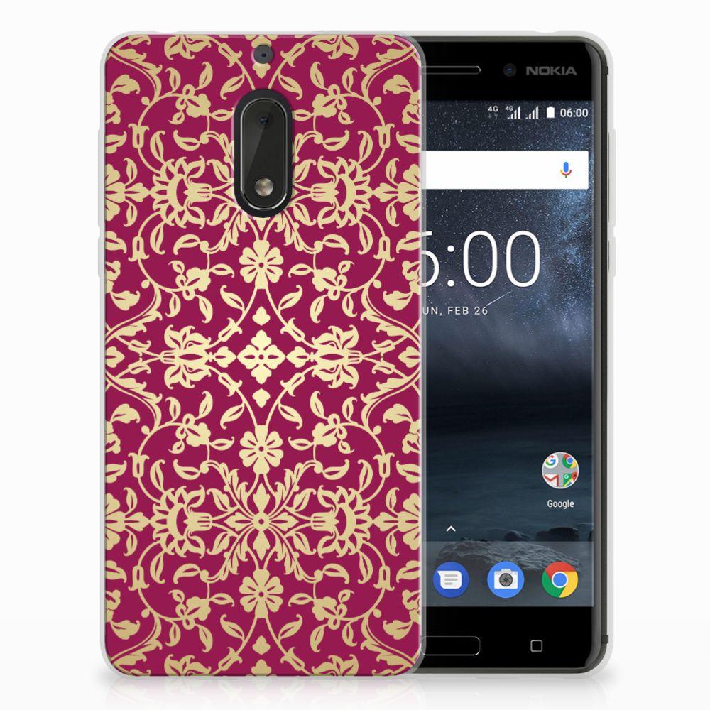 Nokia 6 TPU Hoesje Design Barok Pink