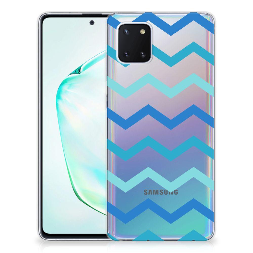 Samsung Galaxy Note 10 Lite TPU bumper Zigzag Blauw