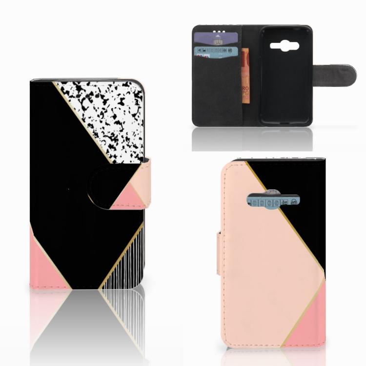 Samsung Galaxy Trend 2 Bookcase Zwart Roze Vormen