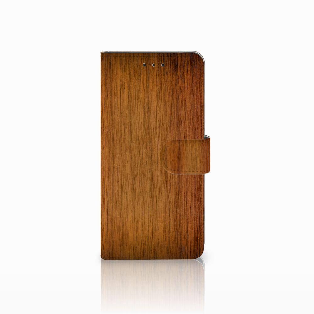 Motorola Moto E5 Plus Uniek Boekhoesje Donker Hout