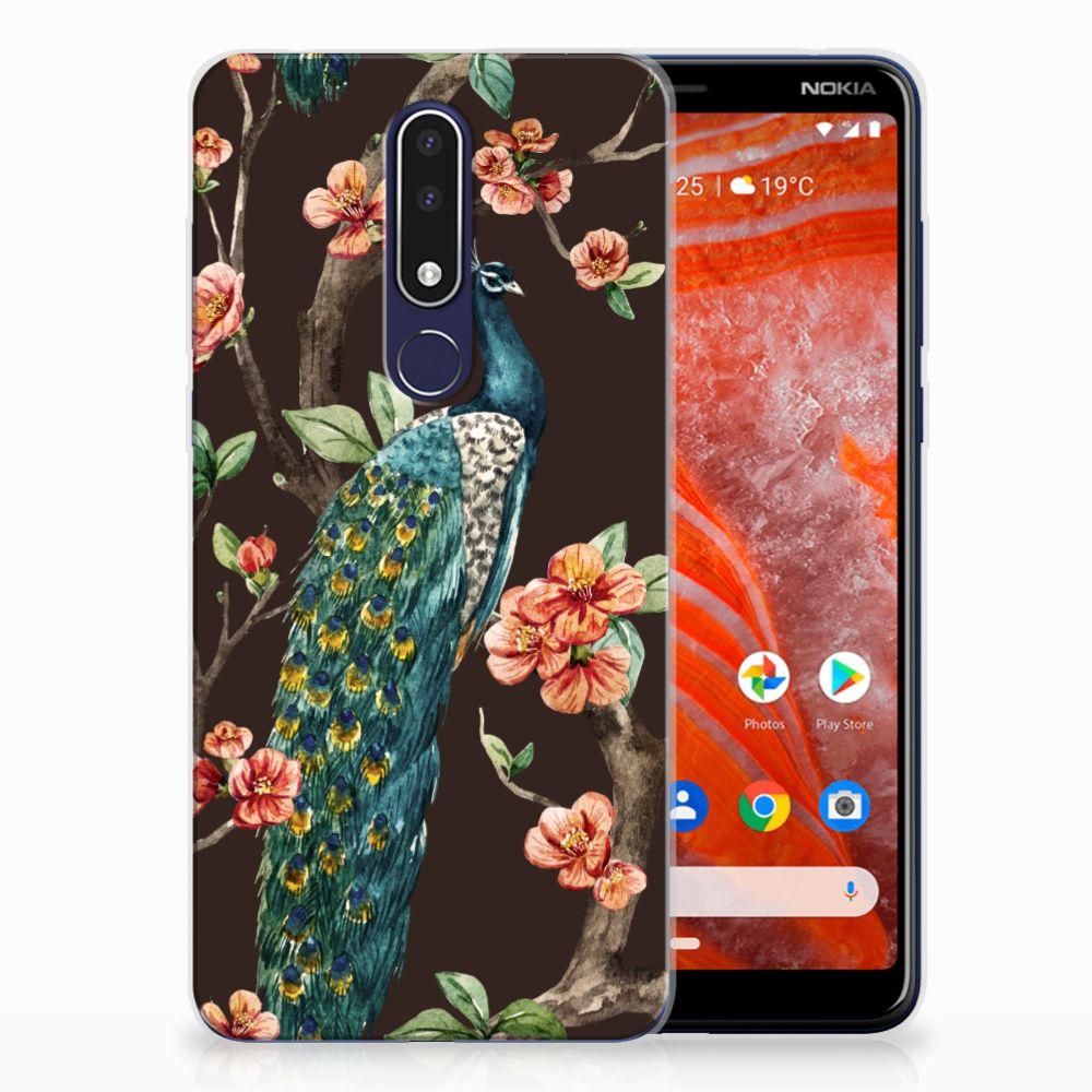 Nokia 3.1 Plus TPU Hoesje Design Pauw met Bloemen