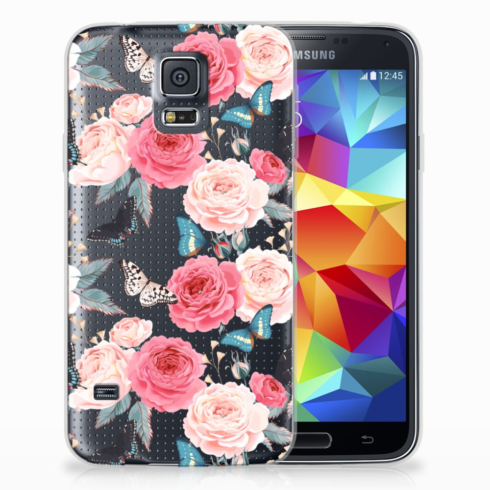 Samsung Galaxy S5 Uniek TPU Hoesje Butterfly Roses