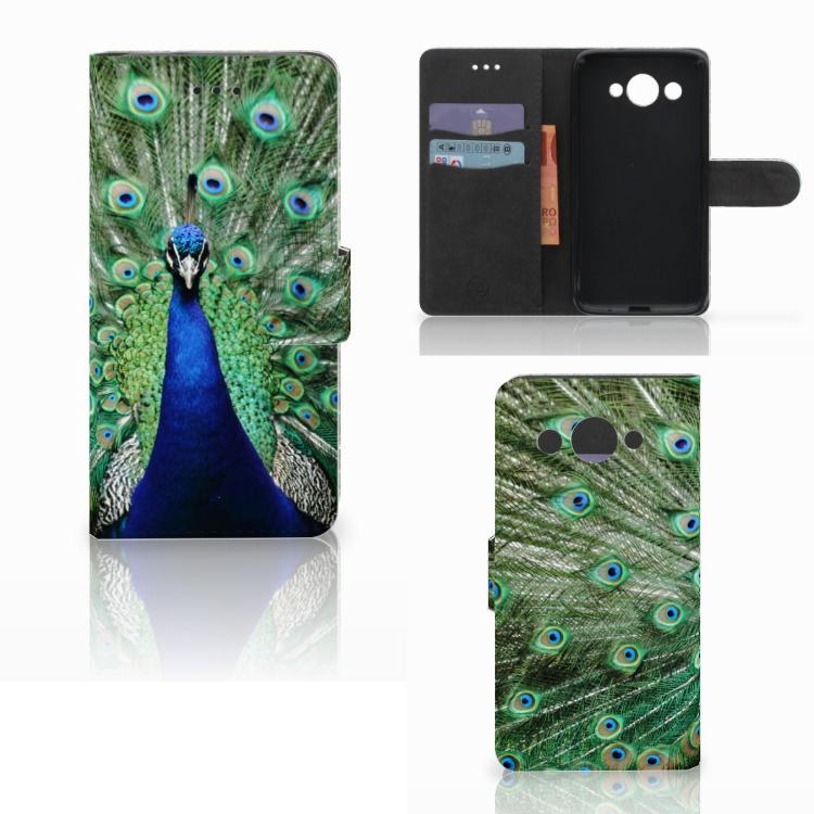 Huawei Y3 2017 Telefoonhoesje met Pasjes Pauw