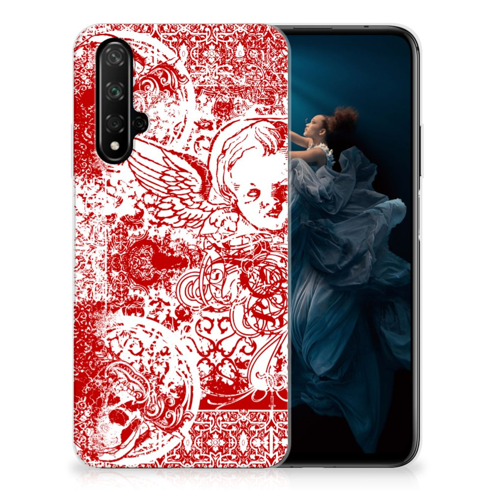 Silicone Back Case Honor 20 Angel Skull Rood
