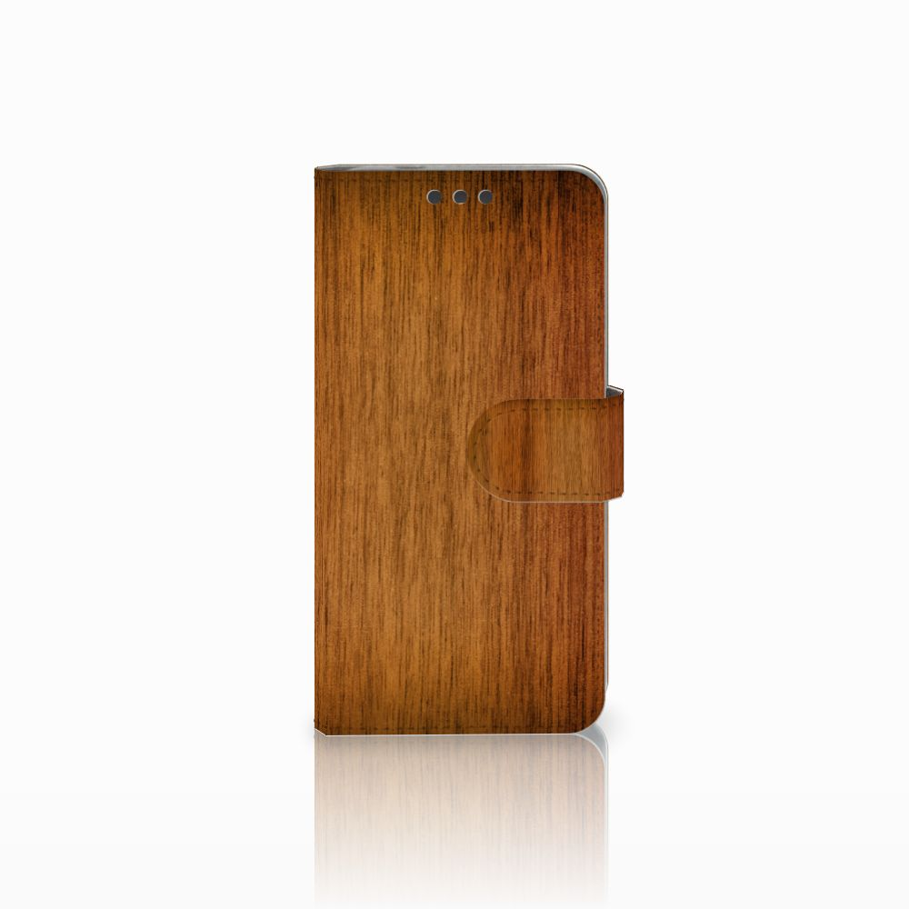Microsoft Lumia 650 Uniek Boekhoesje Donker Hout