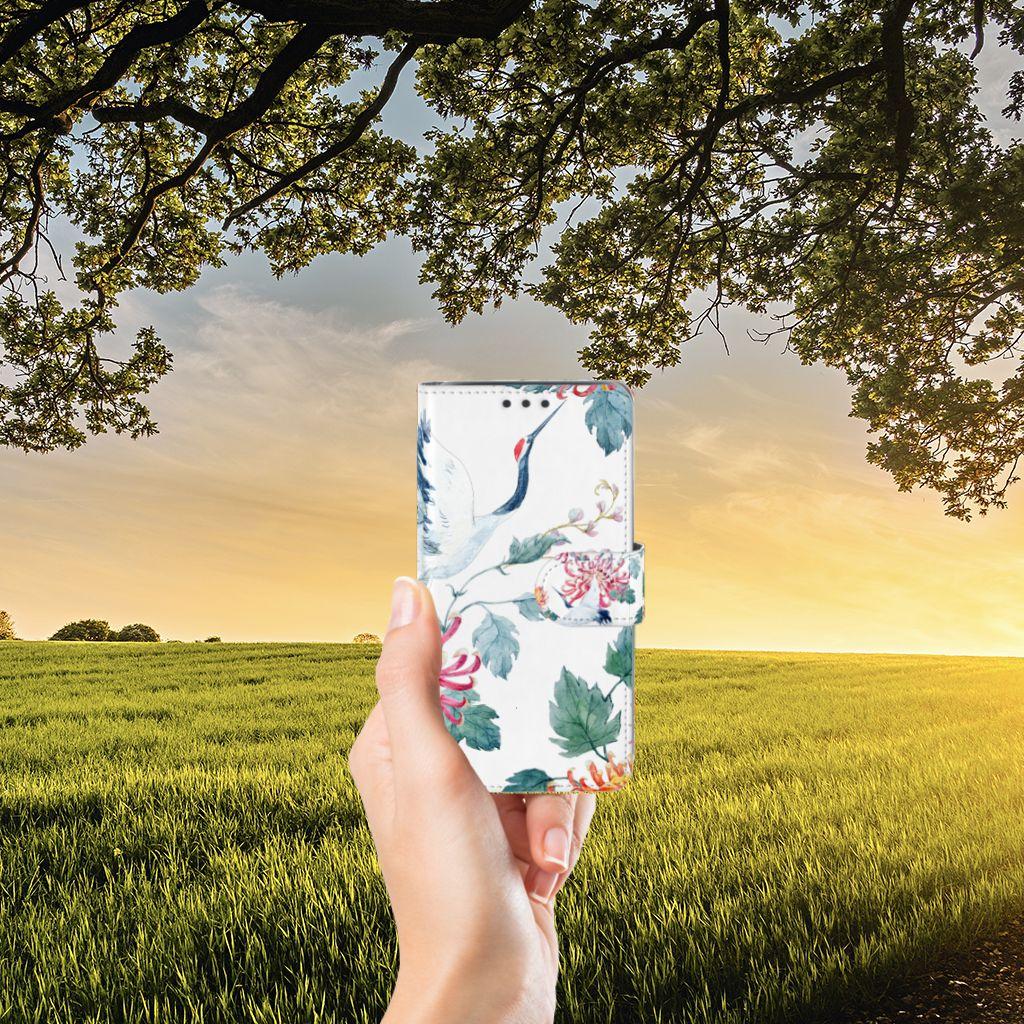 Samsung Galaxy J5 (2015) Telefoonhoesje met Pasjes Bird Flowers