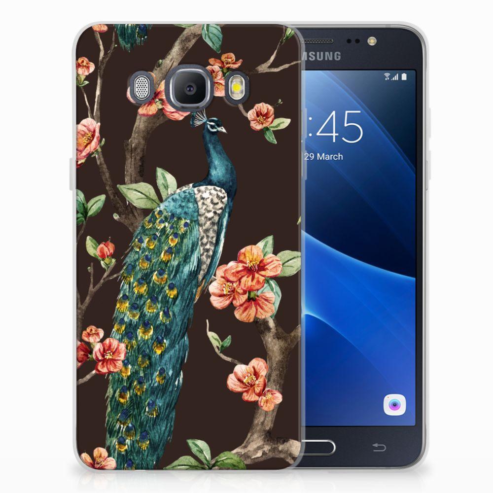 Samsung Galaxy J5 2016 TPU Hoesje Pauw met Bloemen