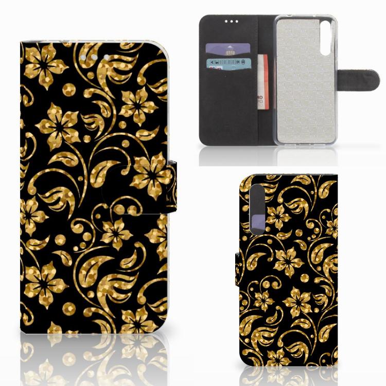 Huawei P20 Pro Hoesje Gouden Bloemen