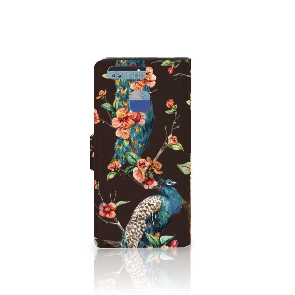 Huawei P9 Telefoonhoesje met Pasjes Pauw met Bloemen