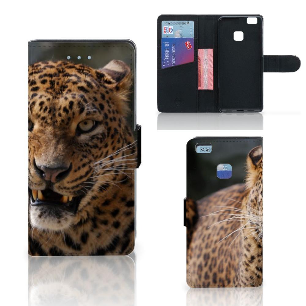 Huawei P9 Lite Telefoonhoesje met Pasjes Luipaard