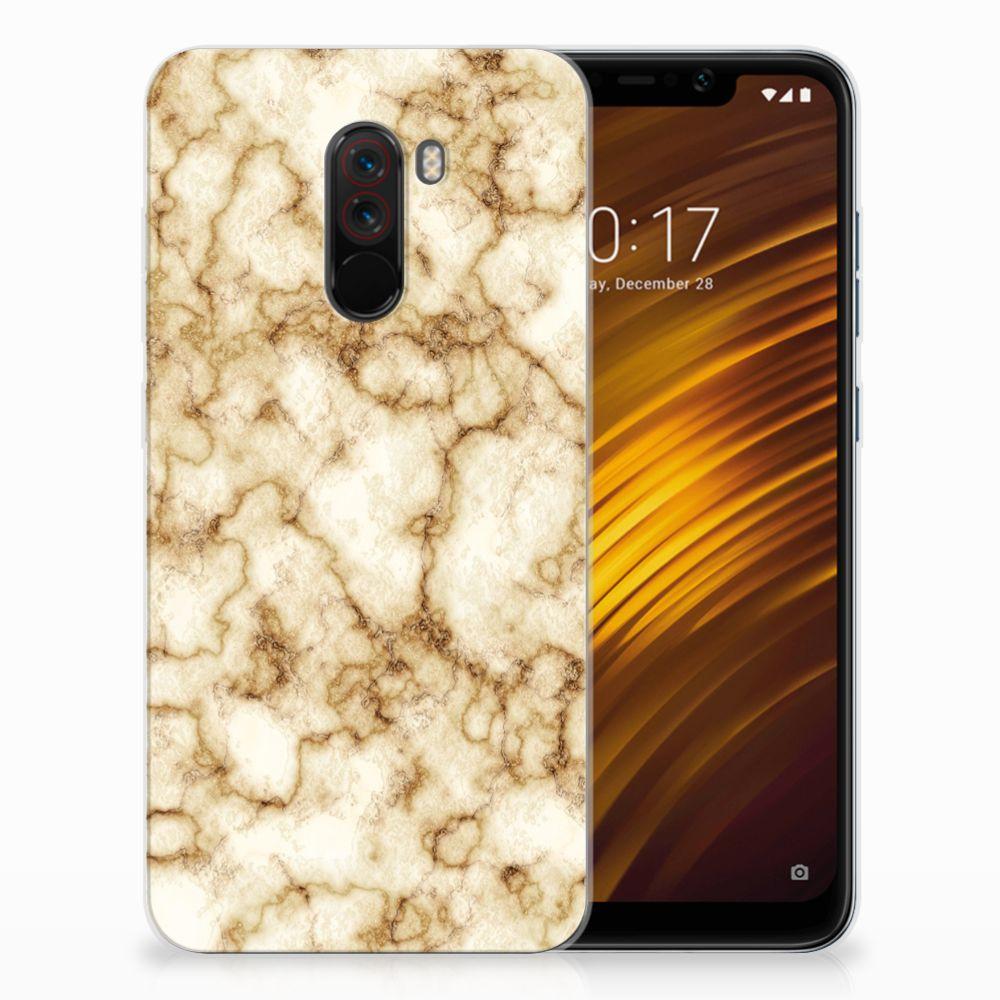 Xiaomi Pocophone F1 TPU Siliconen Hoesje Marmer Goud