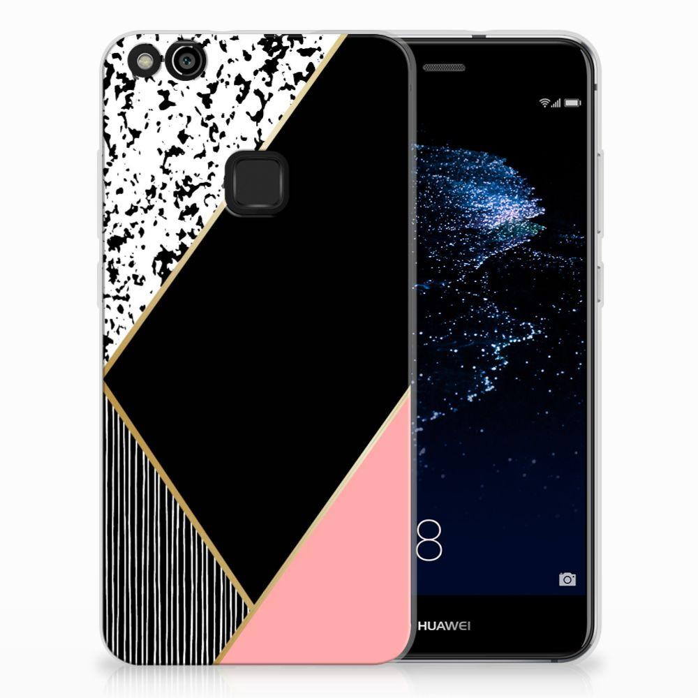 Huawei P10 Lite Uniek TPU Hoesje Black Pink Shapes