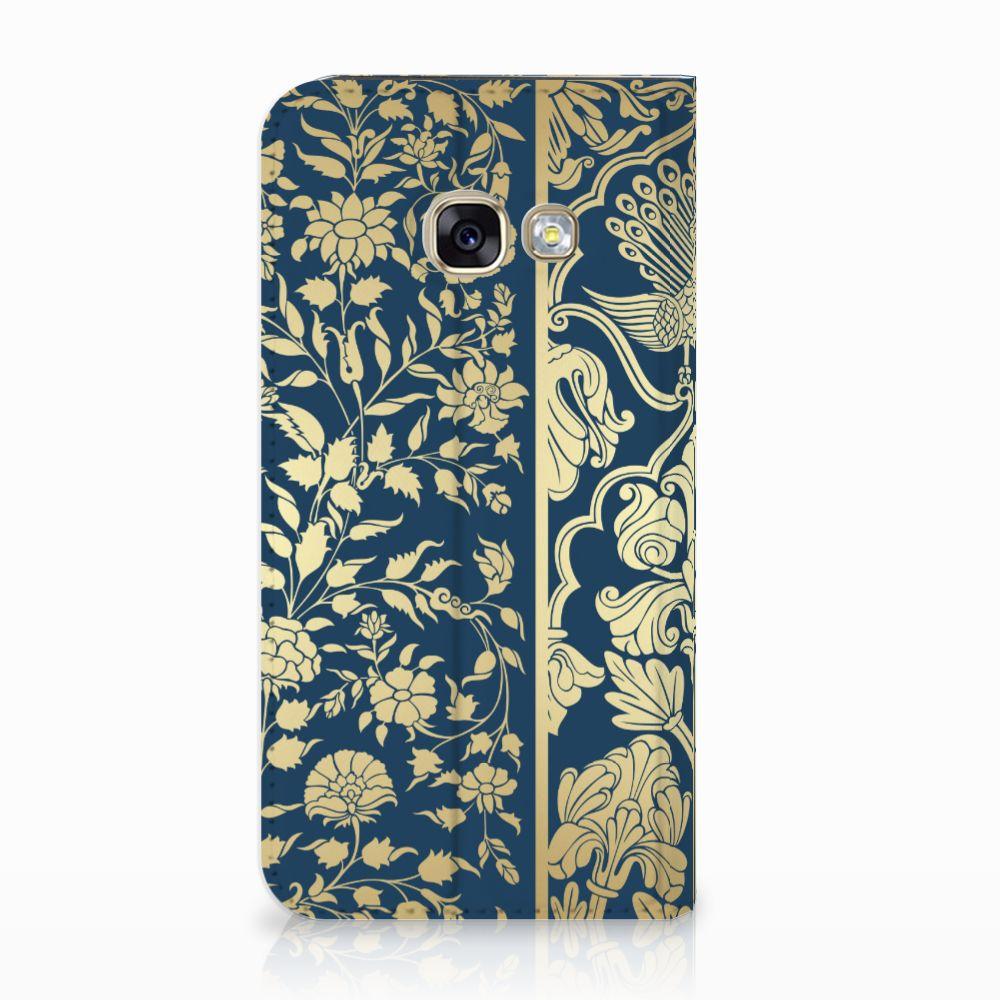 Samsung Galaxy A3 2017 Standcase Hoesje Golden Flowers