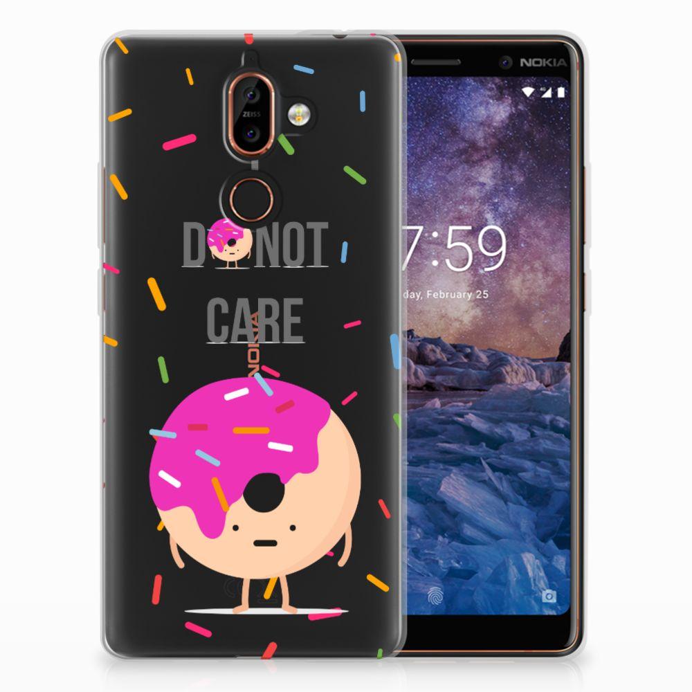 Nokia 7 Plus Siliconen Case Donut Roze