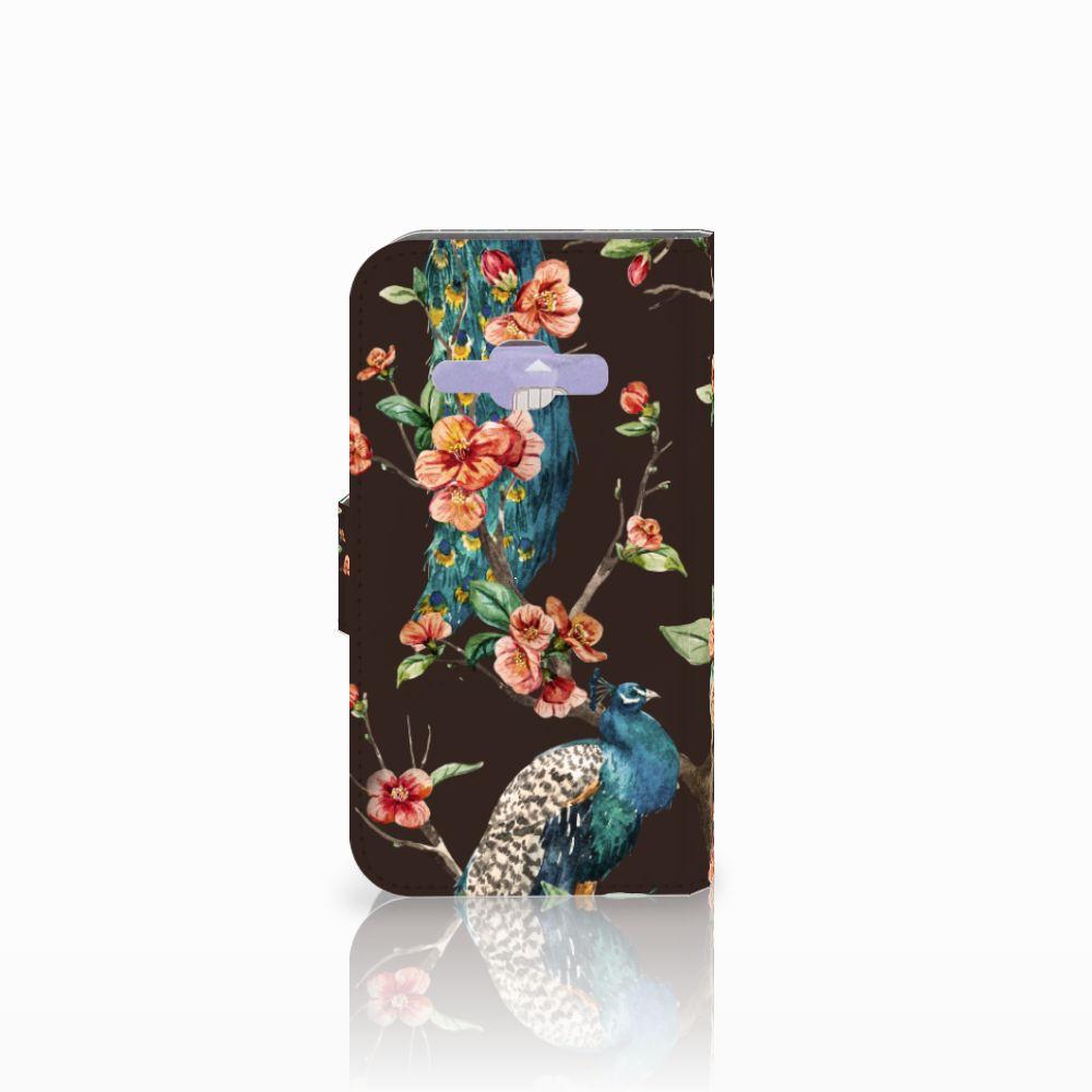 Samsung Galaxy J1 2016 Telefoonhoesje met Pasjes Pauw met Bloemen