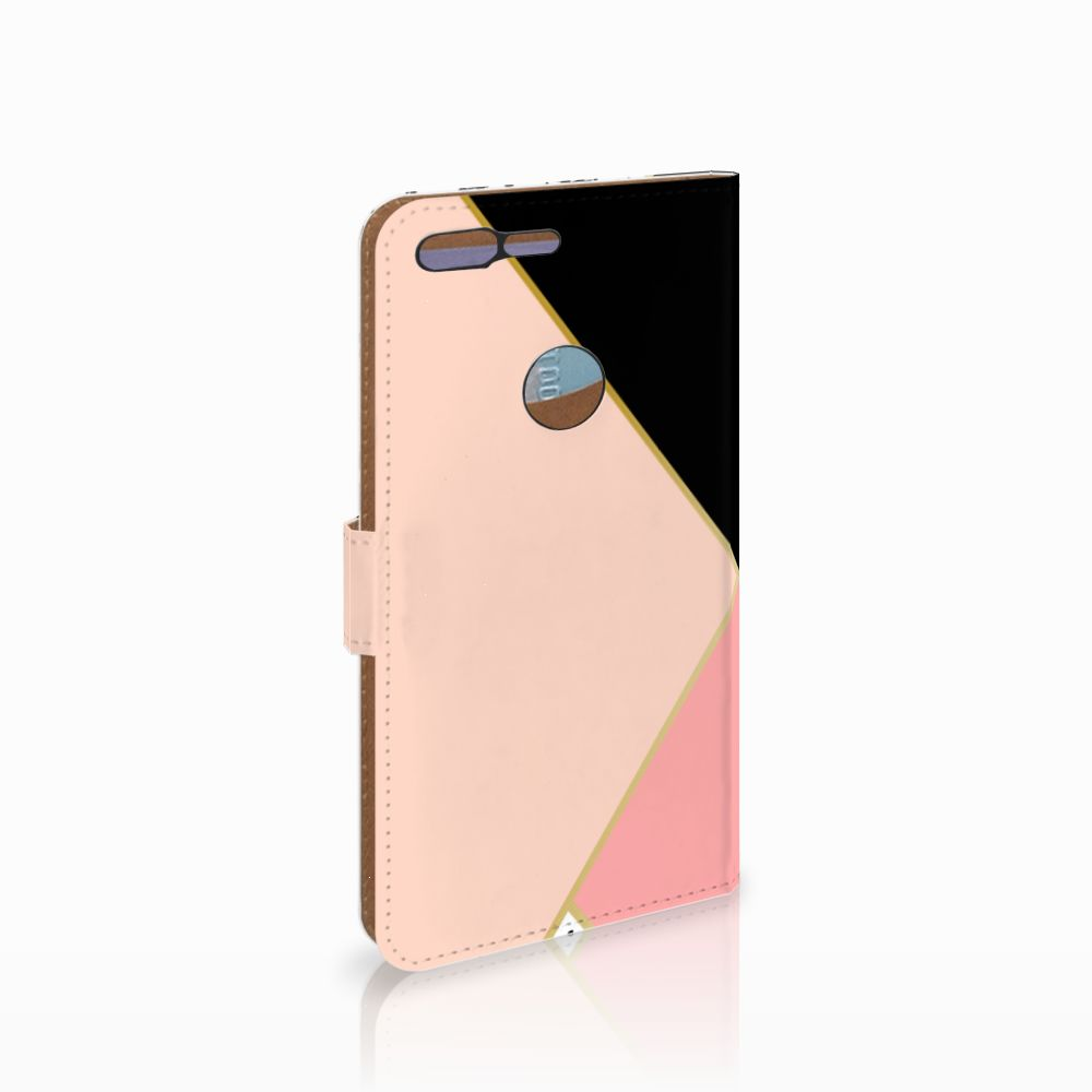 Google Pixel XL Uniek Boekhoesje Black Pink Shapes