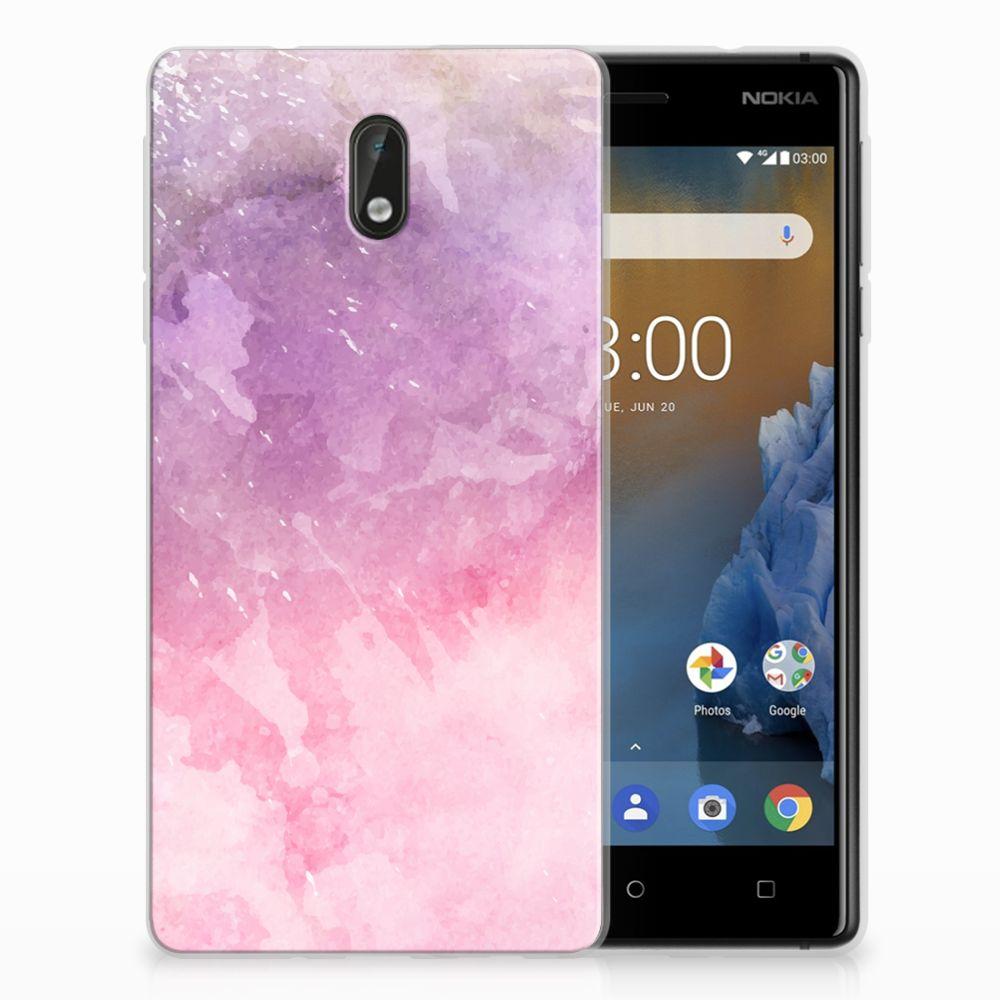 Nokia 3 TPU Hoesje Design Pink Purple Paint