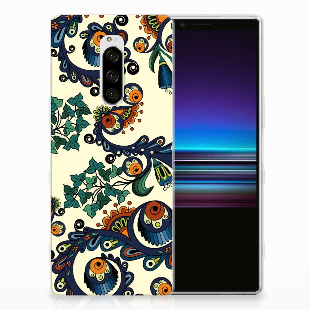 Siliconen Hoesje Sony Xperia 1 Barok Flower